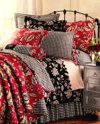 would love this in the downstairs bedroom white walls paint headboard and dresser black fl red gingham duvet cover red white single cot bed