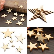 product details of 10pcs 50mm diy wooden mdf star embellishment decor sbooking craft card making new