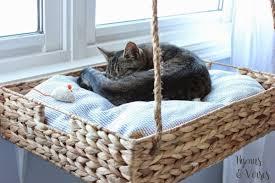 diy hanging wooden basket bed via madpaws com au