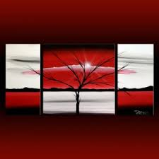 on black red and white wall art with landscape 313 red white black canvas art modern art painting