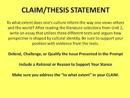 your assignment is to write an essay in which you analyze how 8 claim thesis statement to what extent