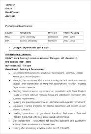 Hr Resume Sample Assistant Manager Hr Resume Example Hr Generalist