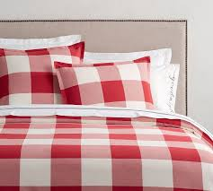 buffalo check duvet cover sham cherry ivory pottery barn with regard to red and white design 8