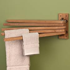 towel bar with towel. Teak Swing Arm Towel Bar With
