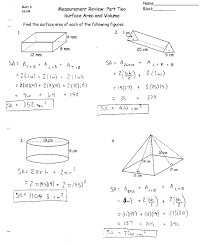 Measurement_Review_Surface_Area_and_Volume_001 area surface area and volume worksheet free worksheets library on area problems worksheet