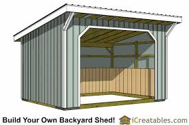 10x16 run in and horse barn plans