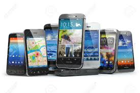Choose Mobile Phone Row The Different Smartphones 3d Stock