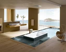 the bathtub itself sits in a small pool of water which connects to the exterior swimming pool behind a wall of glass