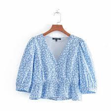 <b>2019</b> new women <b>sweet v neck</b> floral print causal smock blouse shirt ...