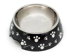 Melaminová Miska Pro Psy A Kočky Dvoudílná Protiskluzová Motiv Tlapka Domestico