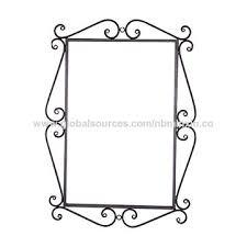 china metal wire decorative wall mirror shelf black