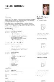 Front Desk Manager Resume Samples Visualcv Resume Samples Database