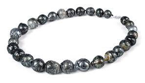 huge 15 8 x 15 0 mm hand carved natural tahitian pearl necklace strand nk208