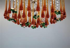 italian 1970s murano teardrop and fruit crystal chandelier for