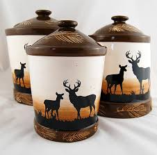 rustic deer 3 piece canister set cabin place within amazing as well as gorgeous rustic kitchen