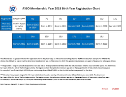 Birth Year Chart Birth Year Chart Ayso Region 870