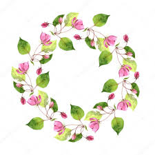 round fl frame with watercolor pink apple tree flowers apple tree blossoms wreath buds and leaves template with spring flowers gift card