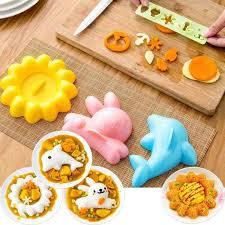 lissng 4pcs high quality rice ball sushi mold four sets dolphin mold sun mold rabbit mold