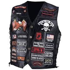 diamond plate rock design genuine buffalo leather biker vest with 42 patches