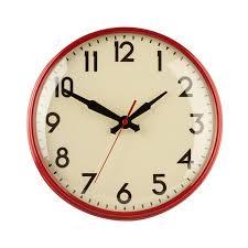 28cm diameter retro wall clock in red
