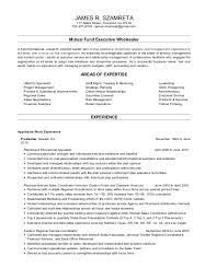 Sample Resume For Mutual Fund Operations