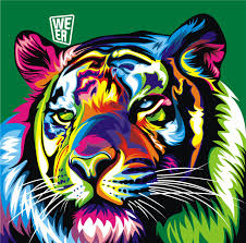 Modern Colorful Animal Tiger Oil Painting Pictures Print On Canvas