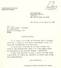 Letter Of Appreciation Extraordinary Letter From Ubirajara R Martins To The Then Director Of MZSP Paulo