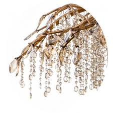 gold branch chandelier with champagne beaded crystal strands and crystal branches