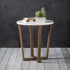 gatsby round marble side table white and gold