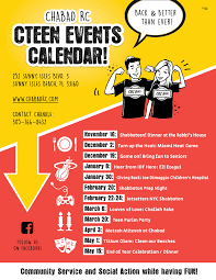 Upcoming Events Flyer Teen Events Calendar Chabad Russian Center