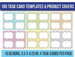 100 Editable Task Card Templates Clip Art Flash Card Templates By ...