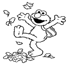 Small Picture Elmo Kicking Dry Leaves Coloring Page NetArt