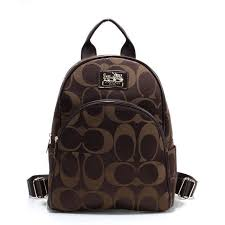 Coach Logo Monogram Small Coffee Backpacks FCG