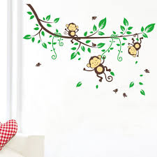 Monkey Bedroom Decorations Large Naughty Monkeys On Tree Vine Wall Art Sticker Decal For