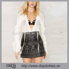 chic new womens leather skirt factory whole hippie studded leather skirt