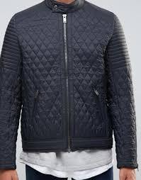 Lyst - Asos Quilted Racing Biker Jacket In Black in Black for Men & Gallery Adamdwight.com