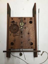 antique boardman wells wooden works clock movement column splat