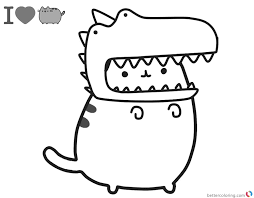 Pusheen Coloring Pages Cute Dinosaur Hat Free Printable Coloring Pages