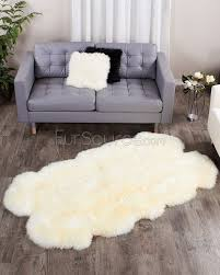 4 pelt eggshell white sheep fur rug quatro