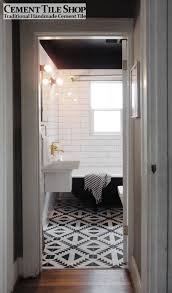 adorable black and white bathroom tile interior decoration using accent