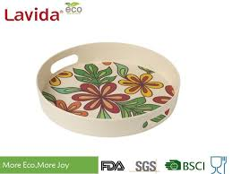 dishwasher safe bamboo fiber big round serving tray with pattern