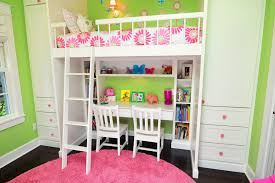 kids bunk bed with desk. Small Desk Kids Traditional With Pink And Green Theme Wall Bunk Bed