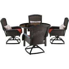 strathmere 5 piece all weather wicker round patio dining set with four swivel chairs
