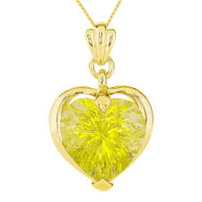 green yellow quartz pendant chain