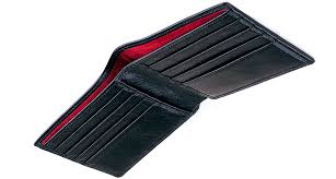 alan hayden ah001 billfold wallet black vintage italian leather and red suede artisan made in london