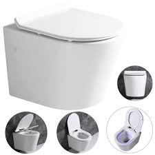 wall hung mounted toilet pan without rim with soft close seat toilet lid bathroom wc sanlingo