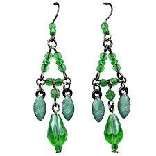 chic costume jewellery fashion green teardrop rhinestone bead chandelier drop earrings loading zoom