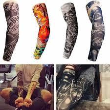 2pc Set Módní Punk Skull Téma Fake Tattoo Rukávy Nylonové Elastické Rameno Dočasné Tetování Rukávy Venkovní Jízdní Rukavice Pro