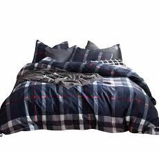 susybao 3 pieces duvet cover set 100 natural cotton king size navy blue plaid
