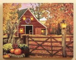Fall Lighted Canvas Lighted Country Autumn Barn Wall Art Hanging Canvas Picture